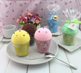 厂家直供创意广告礼品蛋糕造型超细纤维印花毛巾