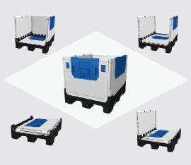 鸿润大型折叠卡板箱KF975 汽车零部件包装配送 双光面