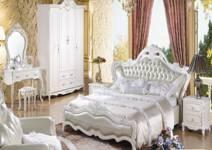 佛山市怡神双人床欧式白色大实木床9   床床头柜化妆台妆凳衣柜双人床