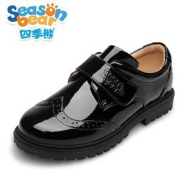 四季熊  黑色皮鞋英伦漆皮中小童单鞋儿童学生表演出鞋大童皮鞋