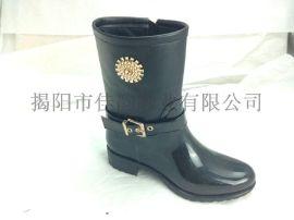 揭阳厂家供应2015新款女士中筒雨鞋