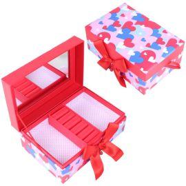 创意家居桌面整理收纳盒**彩色叠心形翻盖带镜子首饰盒定制批发