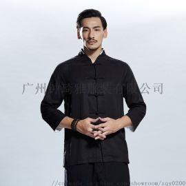 中国风复古改良唐装男士休闲上衣宽松天丝衬衫中山装