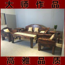 老船木实木沙发椅组合六件套别墅沙发椅客厅沙发实木古典沙发现货