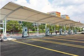 随州遮阳棚钢膜结构 随州汽车充电桩配套遮阳棚