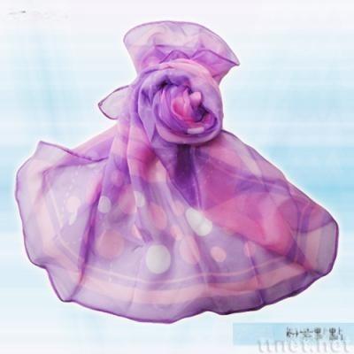 粉紫点点丝巾(S-003)