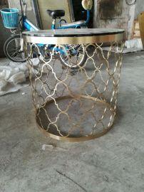 定做不鏽鋼金屬鏤空茶幾不鏽鋼會所**角幾定制