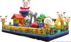 河南开封中型气垫蹦蹦床多少钱  60平方米喜洋洋儿童充气城堡厂家直销