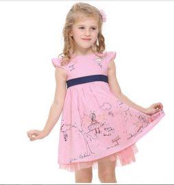 2015夏季外贸童装新款冰雪奇缘吊带童裙 公主连衣裙