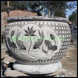 定制 石雕鱼缸花盆庭院石缸 石头缸石盆流水石槽仿古天然青石石盆水缸