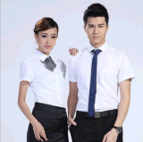 廠家貨源可定做男女工作服職業裝修身短袖小方領襯衫