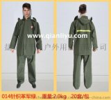 厂家直销2015款针织布军绿雨衣套装