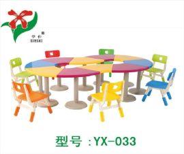 幼儿园拼接桌椅、可拼式半圆桌、幼儿园桌椅
