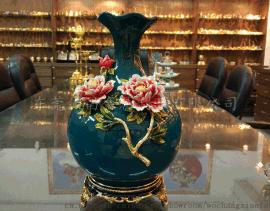 金属创意牡丹花瓶摆件 珐琅彩家居陶瓷装饰花瓶工艺品定制