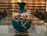 金屬創意牡丹花瓶擺件 琺琅彩家居陶瓷裝飾花瓶工藝品定制