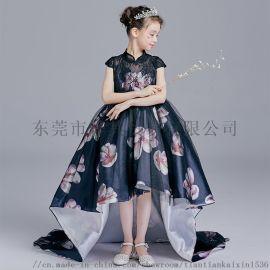 阔比豆国风女童礼服公主裙拖尾拖地儿童演出服晚礼服