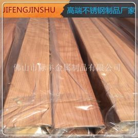 加工定制 201不锈钢转印木纹管 直径51*1.2不锈钢  木纹圆管