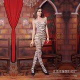 厂家直供速卖通爆款情趣丝袜批发性感白色豹纹情趣连身衣吊带丝袜