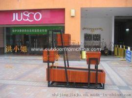 长沙广场实木花箱、商业街防腐木制花箱