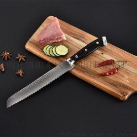 陽江惠利8寸大馬士革鋼花紋西式面包刀凍肉刀蛋糕刀