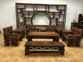 老船木沙发组合 会所客厅酒店办公室沙发 粗矿原生态 实木沙发