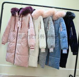 低价女装棉衣库存服装女士加厚棉服羽绒服中长款外套
