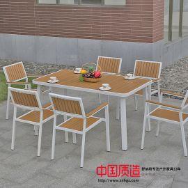 廣州熱款防腐耐用塑木 六椅或四椅配一桌黃色組合裝