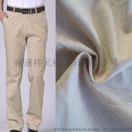 厂家直销进口高速剑杆织造高弹麻棉弹力色织布 休闲裤子面料批发