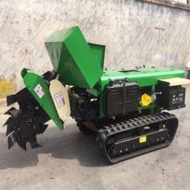 开沟旋耕机 履带田园管理机 开沟 旋耕 施肥 打药一体机
