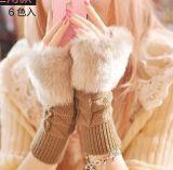 仿兔毛毛線針織保暖手套女士 格子紋半指手套