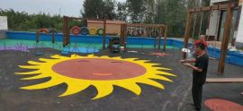 彩色沥青混凝土基础 花色再生颗粒打底地坪材料