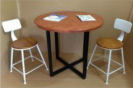 休闲桌实木北欧经典复古实木家具圆桌仿古做旧铁艺餐桌椅**桌