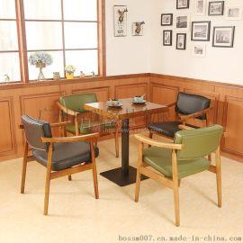 北欧复古小户型皮布沙发客厅咖啡厅卡座餐厅单人双人三人沙发组合