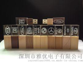 廠家直供木質水晶U盤 發光U盤 廣告禮品u盤定制