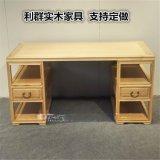 廠家直銷桌實木簡約現代書桌禪意新中式免漆白蠟木桌寫字臺
