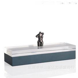 藏蓝色长方形亚克力金色女人身合金首饰盒饰品欧式创意卧室摆件