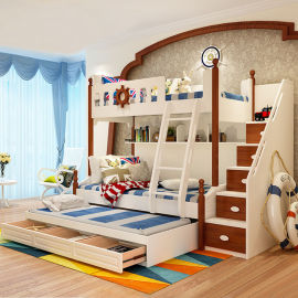 工厂直销地中海实木高低床儿童床 松木爬梯带书架储物 儿童双层床
