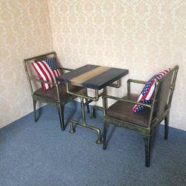 美式工业风餐厅桌椅定做 凯隆厂家直销铁艺实木桌子椅子 酒吧咖啡馆新款桌椅