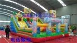 乐鲸游乐玩具海绵宝宝充气大滑梯,充气蹦蹦床滑梯