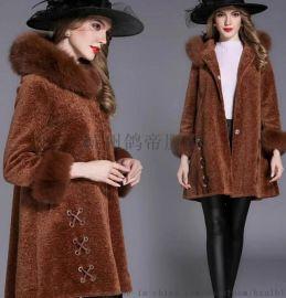 高端羊剪绒大衣芭而慕/迪兰摩尔17冬澳洲羊毛系列女装品牌折扣服装尾货库存