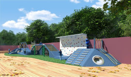 兒童戶外遊樂設施幼兒園木質滑梯體能拓展訓練非標滑梯