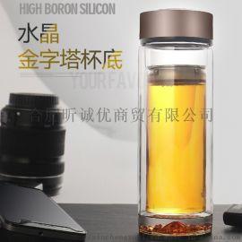 合肥双层玻璃杯定制 水晶玻璃杯广告礼品玻璃水杯