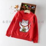 童装儿童纯棉招财猫针织衫,男童女童卡通打底毛衣