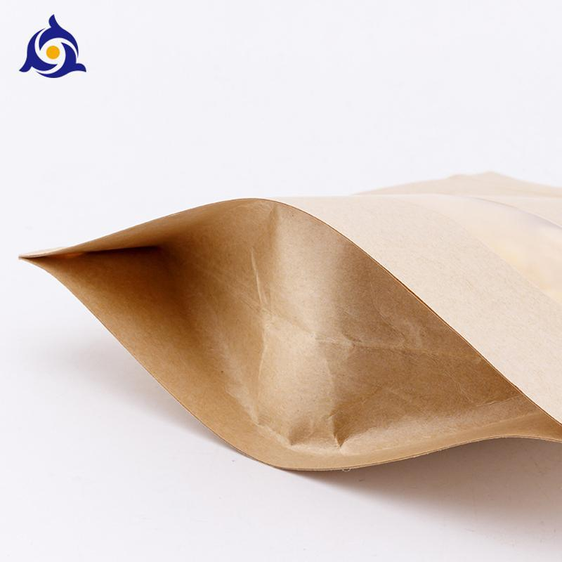 牛皮纸袋定做茶叶袋自立拉链袋干果防油开窗自封袋真空食品包装袋