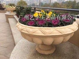 人造砂岩花盆雕塑雕花花钵 园林景观花盆 砂岩花盆雕塑