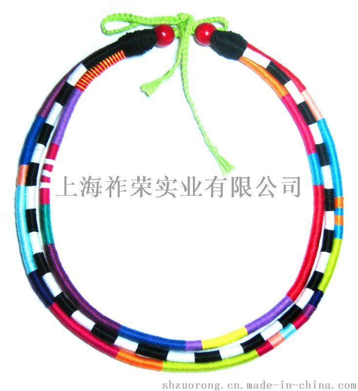 厂家直销棉线编织帽箍 蜡绳打结编织帽檐装饰品