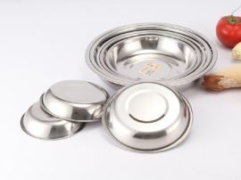思美雅厂家直销批发不锈钢餐具 韩版不锈钢圆盘子 加厚无创意磁盘碟子