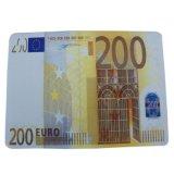 厂家定制20*28cm四款面值的橡胶欧元鼠标垫 钱币鼠标垫