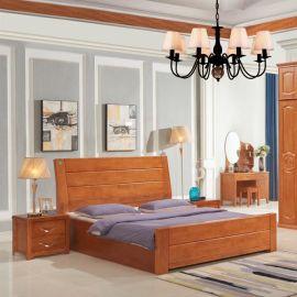 新中式气压结构实木双人床