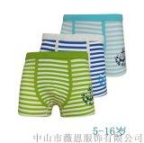 儿童内裤纯棉经典间条平角男童内裤7520中山内裤生产厂家